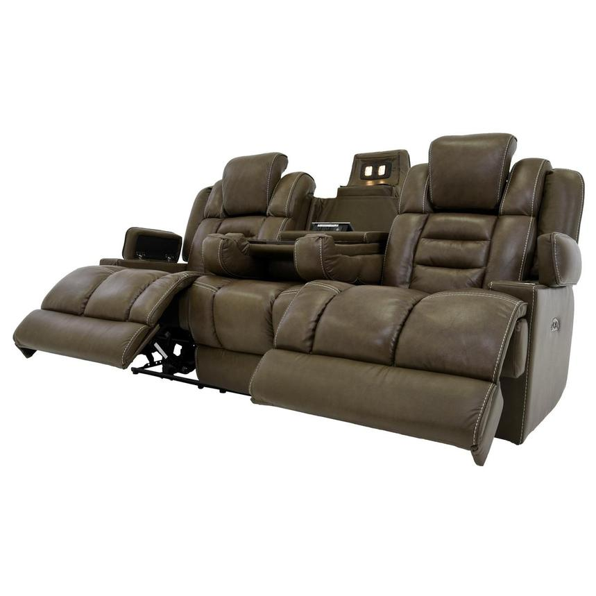 Damon Brown Leather Power Reclining Sofa  alternate image, 3 of 11 images.