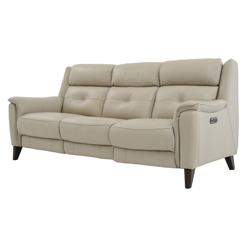 Mayte Cream Leather Power Reclining Sofa