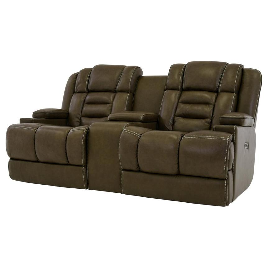 Damon Brown Power Motion Leather Sofa w/Console  alternate image, 2 of 9 images.