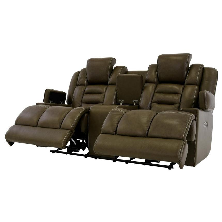 Damon Brown Leather Power Reclining Sofa w/Console  alternate image, 3 of 10 images.