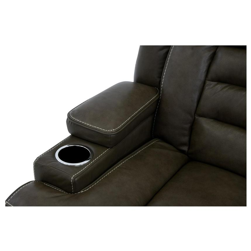Damon Brown Leather Power Reclining Sofa w/Console  alternate image, 8 of 10 images.