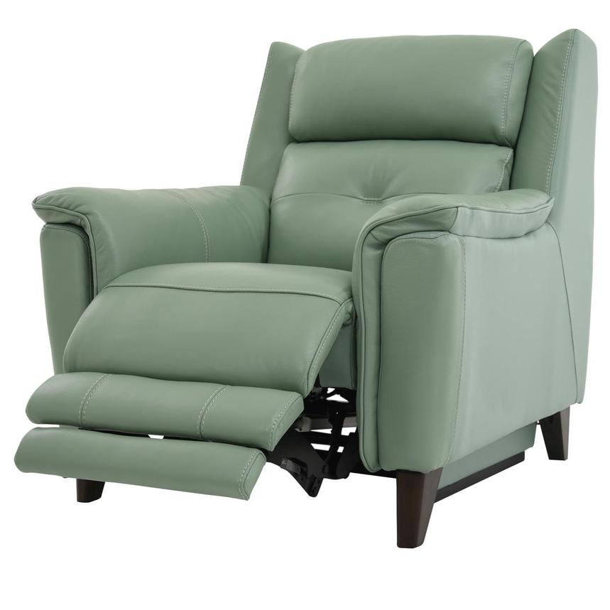 Mayte Green Power Motion Leather Recliner  alternate image, 3 of 8 images.