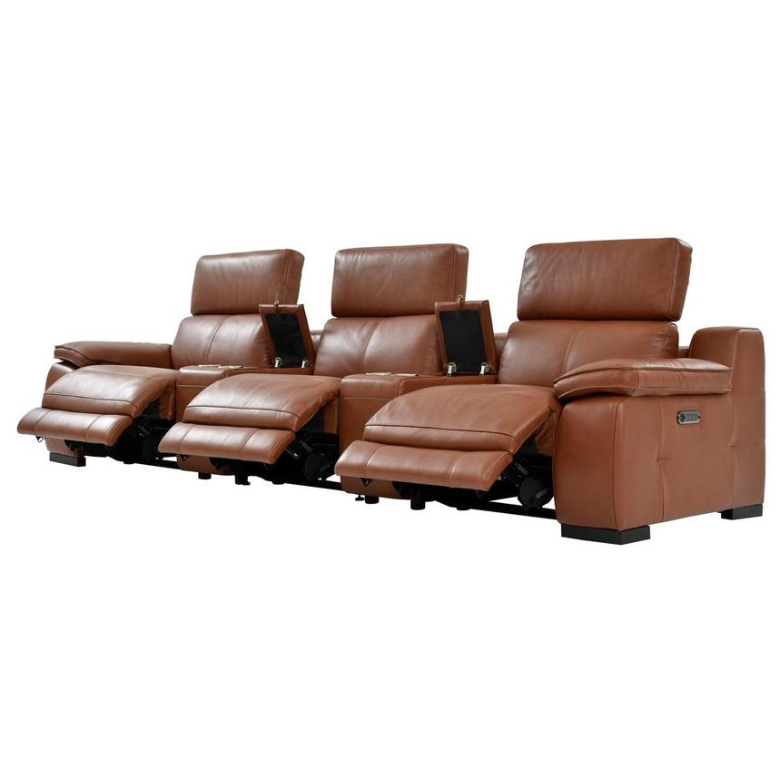 Gian Marco Tan Home Theater Leather Seating  alternate image, 4 of 11 images.