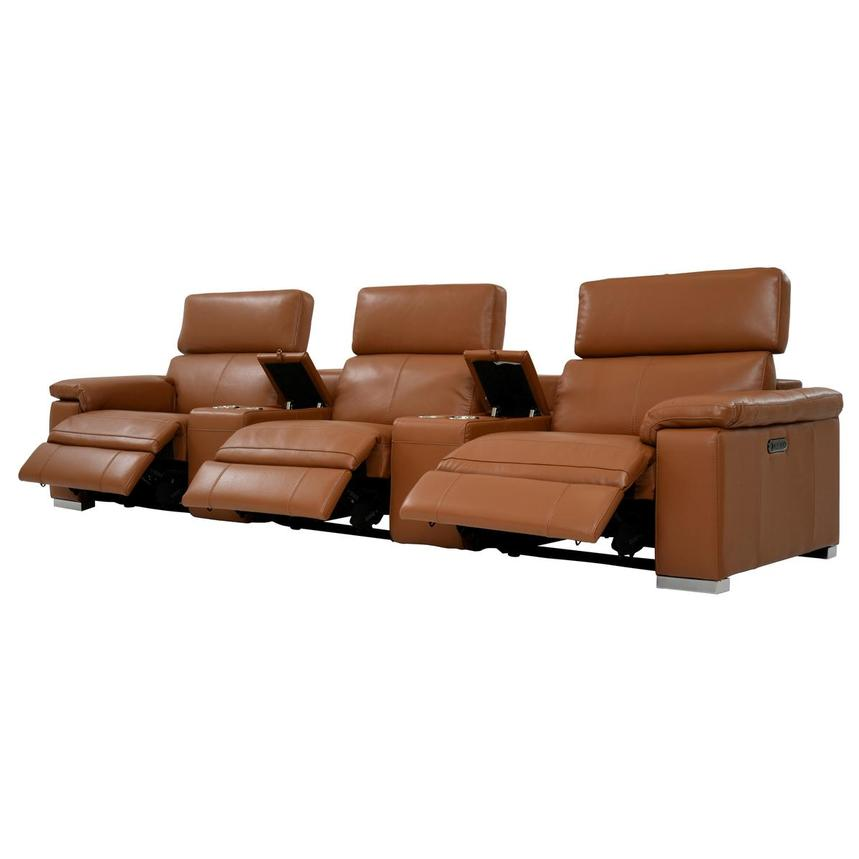 Charlie Tan Home Theater Leather Seating  alternate image, 3 of 12 images.