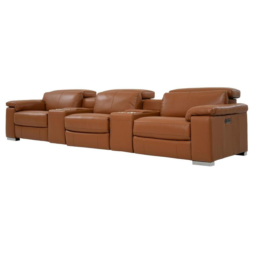 Charlie Tan Home Theater Leather Seating  alternate image, 2 of 11 images.