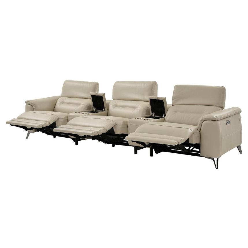 Anabel Cream Home Theater Leather Seating  alternate image, 3 of 9 images.