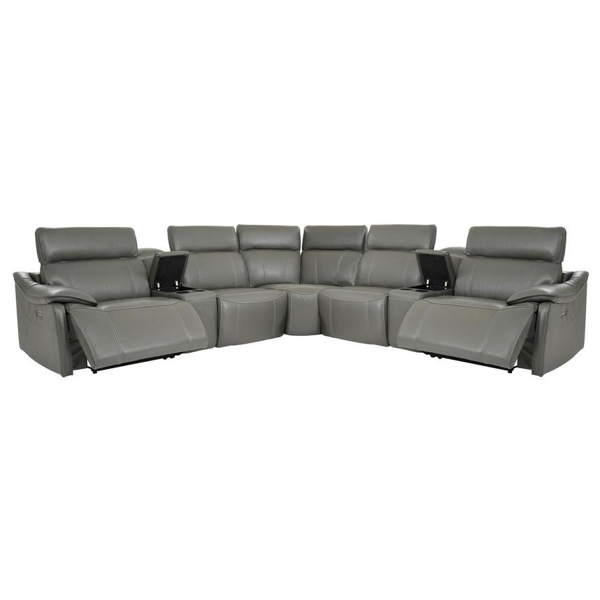 Austin Dark Gray Power Motion Leather Sofa w/Right & Left Recliners  alternate image, 2 of 10 images.