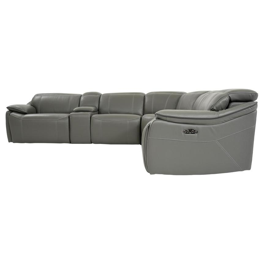 Austin Dark Gray Power Motion Leather Sofa w/Right & Left Recliners  alternate image, 3 of 10 images.