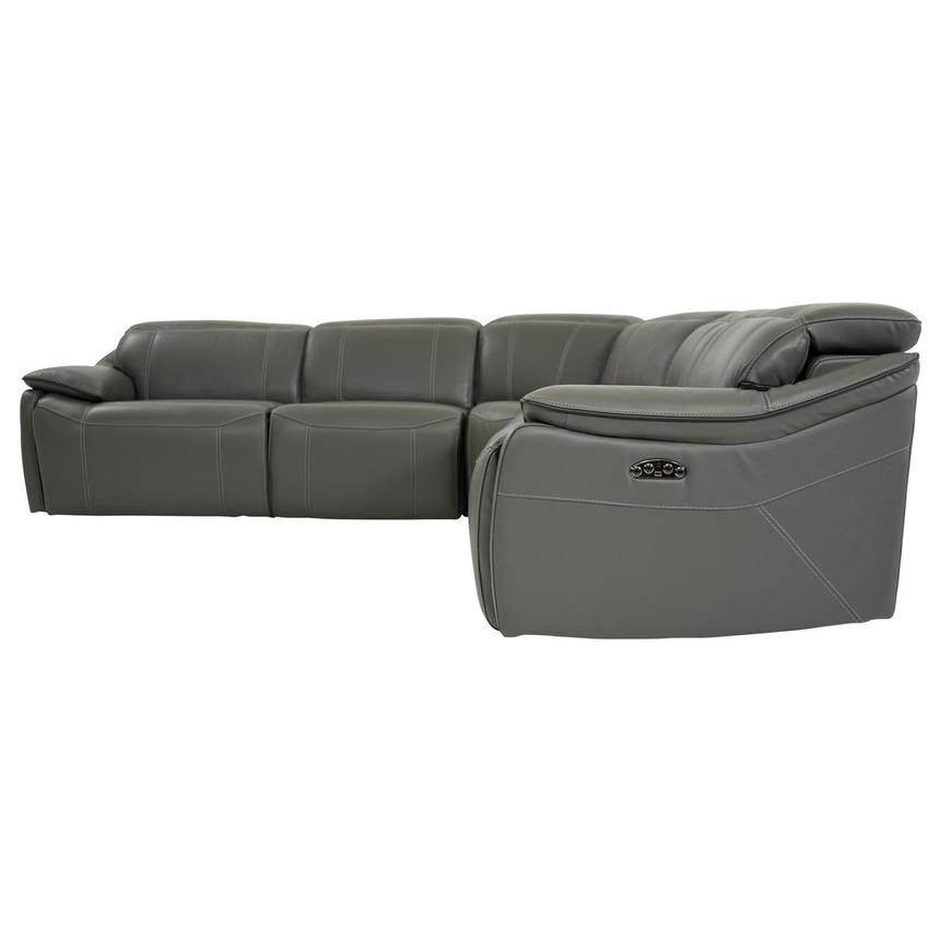 Austin Dark Gray Power Motion Leather Sofa w/Right & Left Recliners  alternate image, 3 of 8 images.