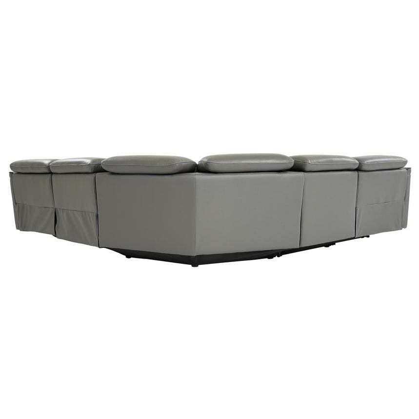Austin Dark Gray Leather Power Reclining Sectional  alternate image, 5 of 9 images.