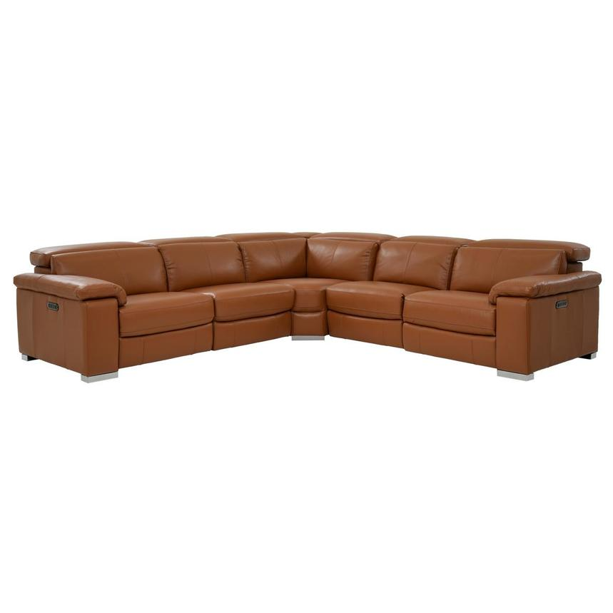 Charlie Tan Leather Power Reclining Sectional  main image, 1 of 10 images.
