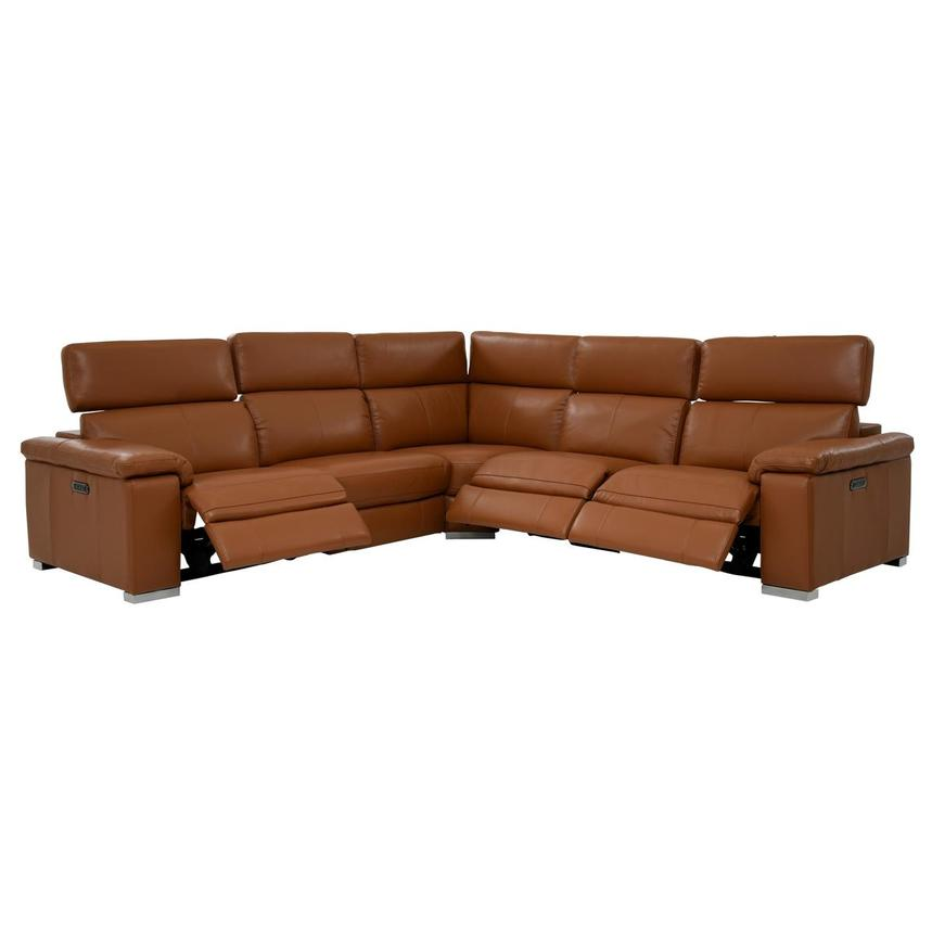 Charlie Tan Leather Power Reclining Sectional  alternate image, 2 of 9 images.