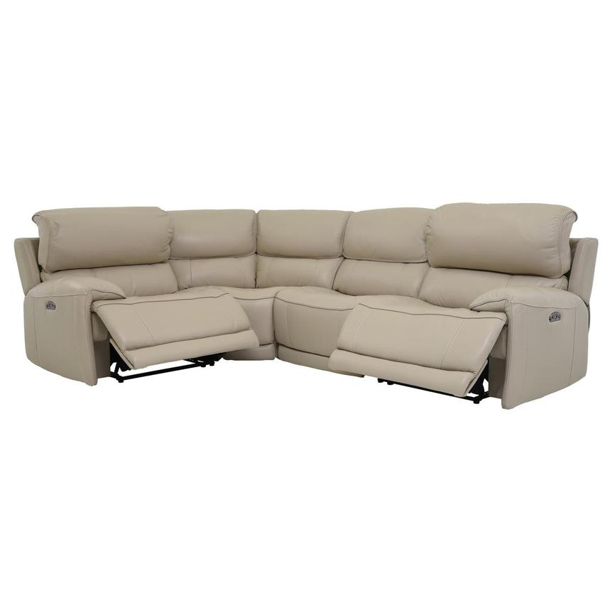 Cody Cream Leather Power Reclining Sectional  alternate image, 2 of 6 images.