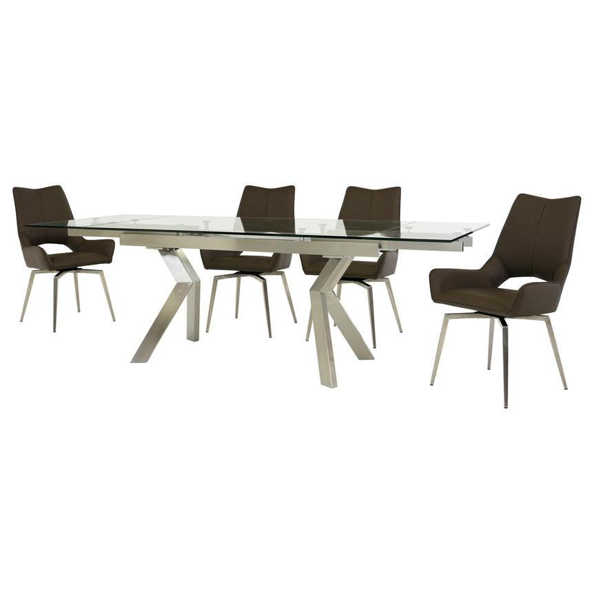 Lynne Clear/Kalia Brown 5-Piece Formal Dining Set  alternate image, 2 of 15 images.