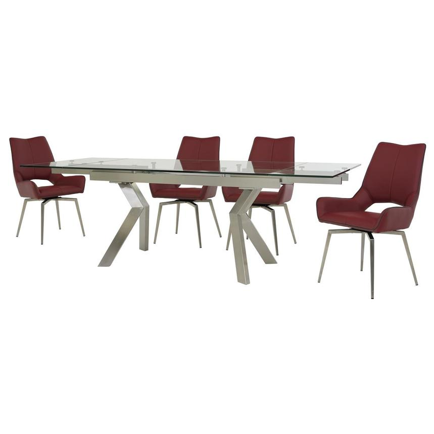 Lynne Clear/Kalia Red 5-Piece Dining Set  alternate image, 2 of 14 images.