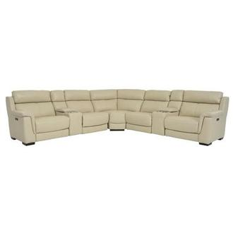 Amanda Cream Power Motion Leather Sofa w/Right & Left Recliners