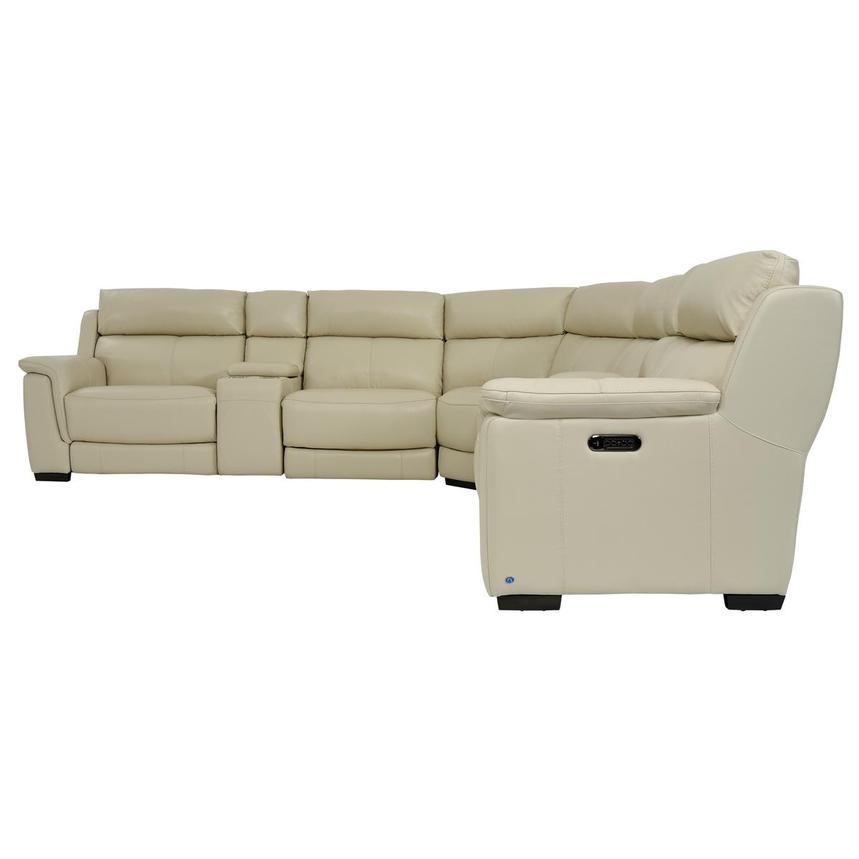 Amanda Cream Power Motion Leather Sofa w/Right & Left Recliners  alternate image, 3 of 11 images.