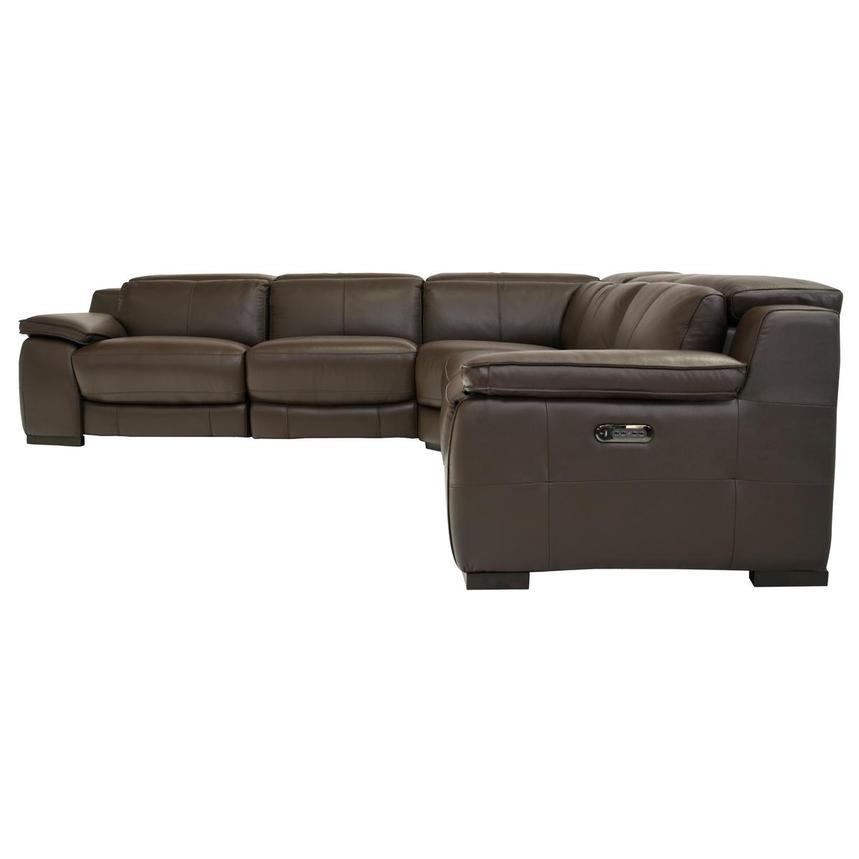 Gian Marco Brown Power Motion Leather Sofa w/Right & Left Recliners  alternate image, 3 of 7 images.