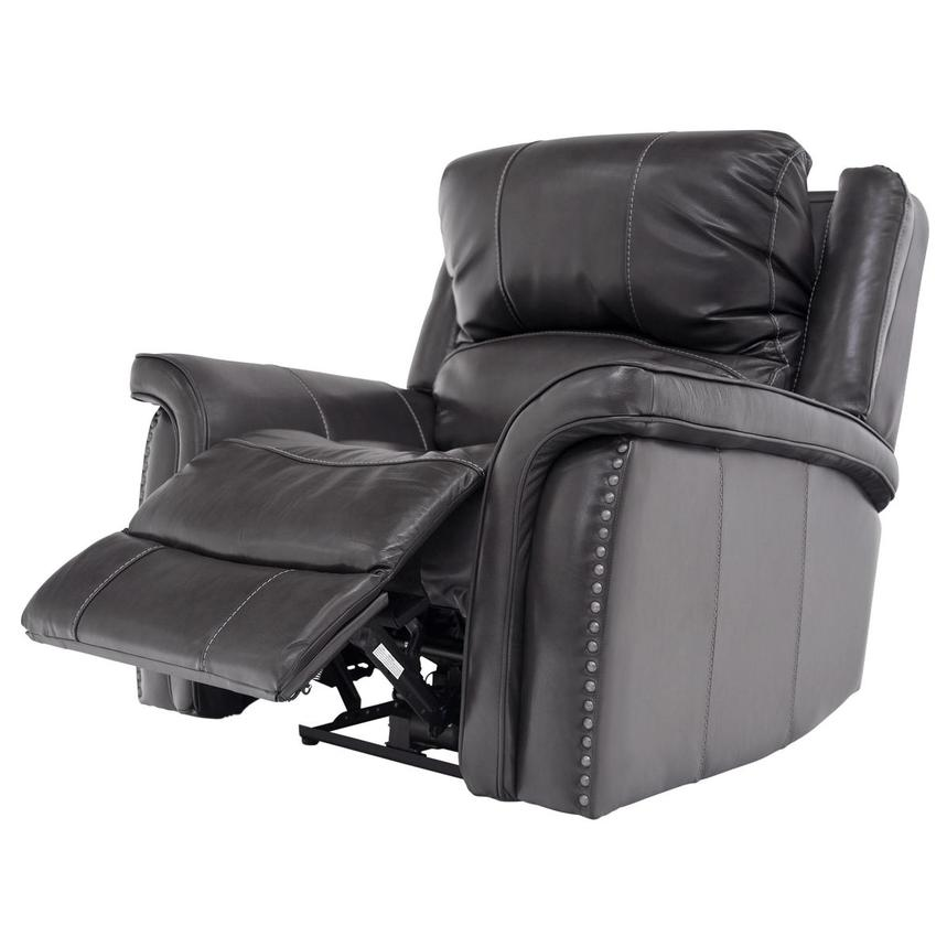 Raleigh Gray Power Motion Leather Recliner  alternate image, 3 of 9 images.