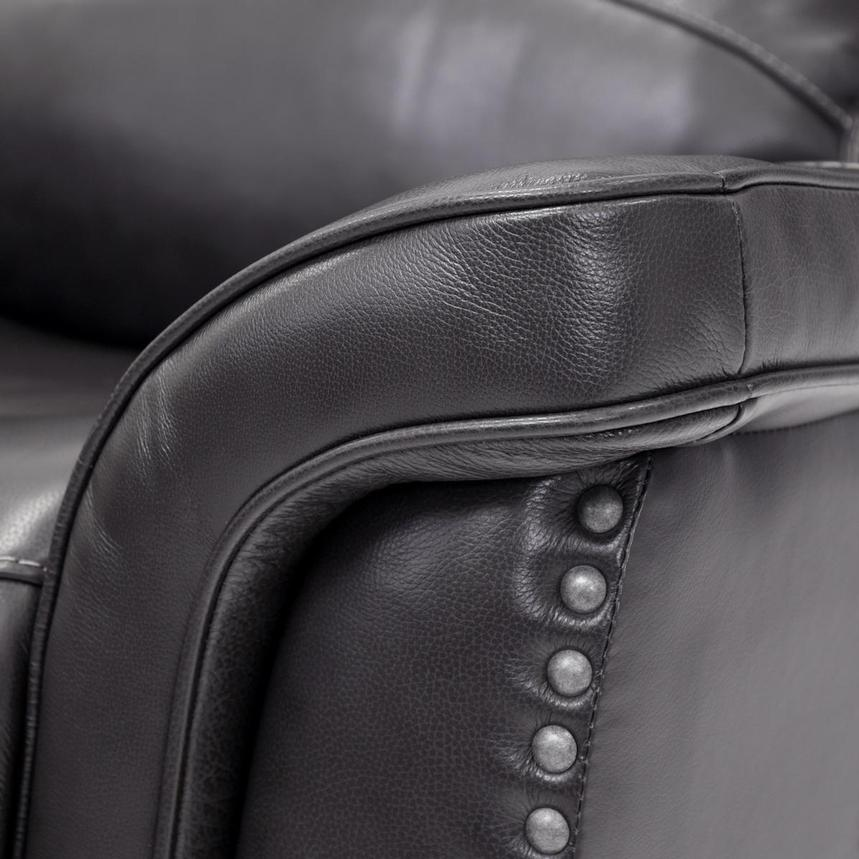 Raleigh Gray Power Motion Leather Recliner  alternate image, 8 of 9 images.