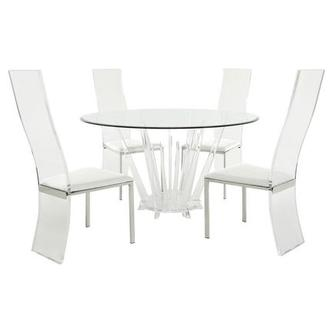 Alice/Layra White 5-Piece Formal Dining Set