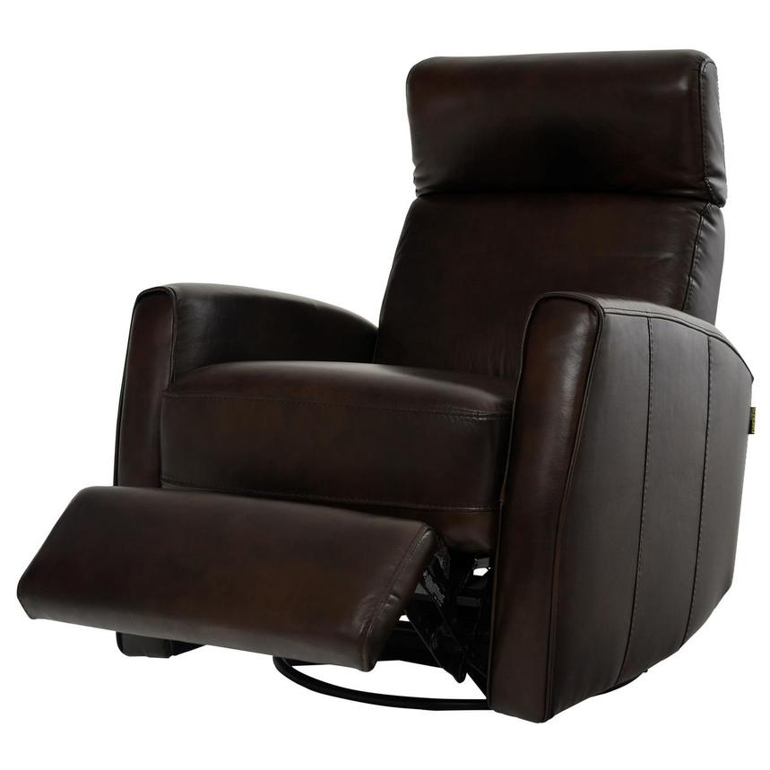 Lucca Brown Power Motion Leather Recliner  alternate image, 3 of 7 images.