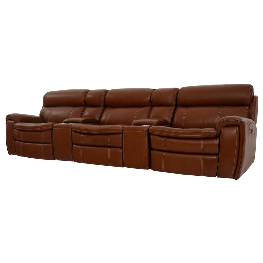 Napa Tan Home Theater Leather Seating  alternate image, 2 of 10 images.