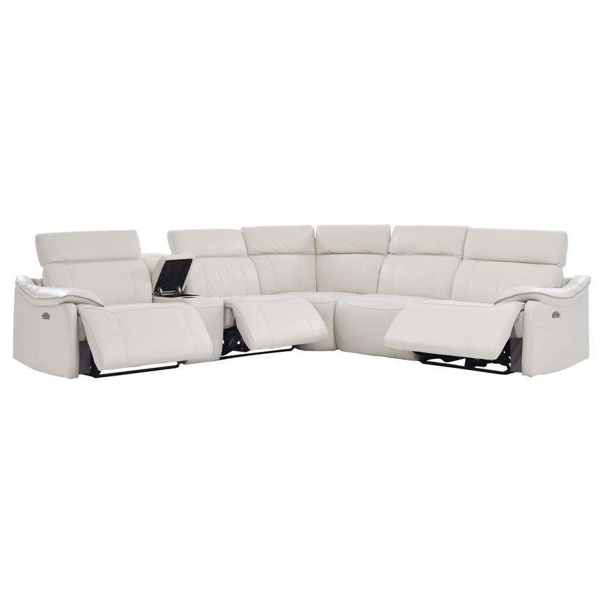 Austin White Leather Power Reclining Sectional  alternate image, 2 of 9 images.