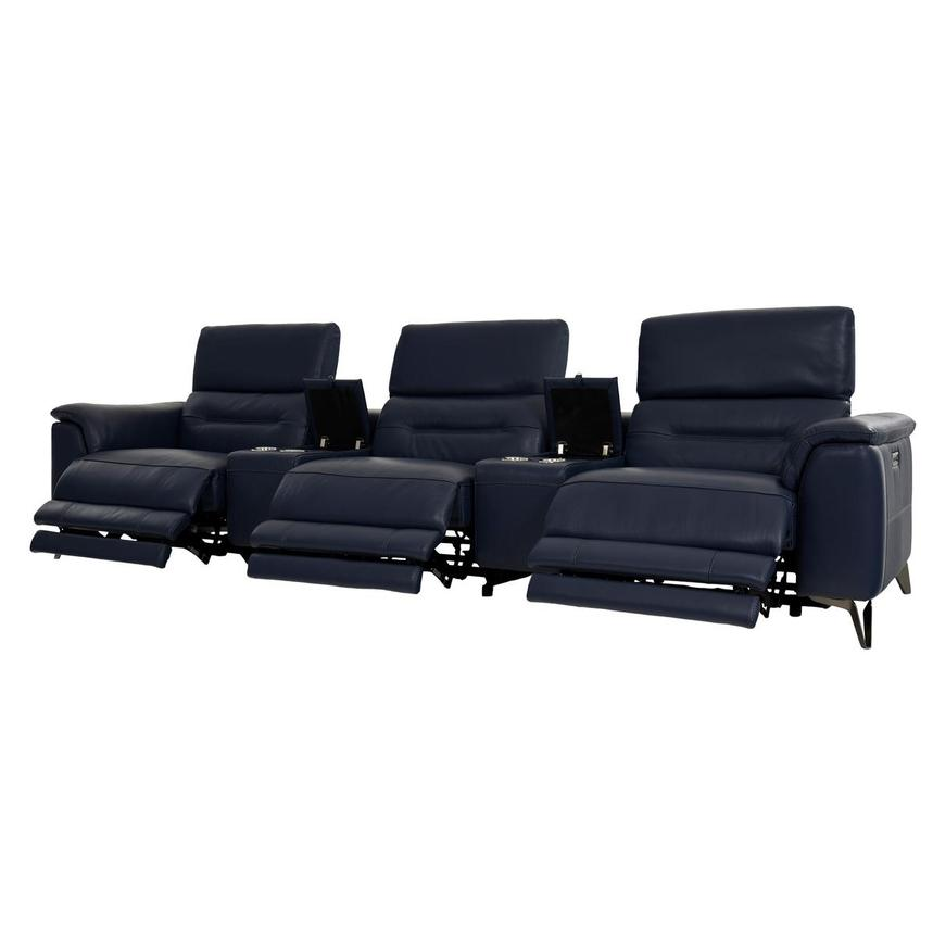 Anabel Blue Home Theater Leather Seating  alternate image, 3 of 9 images.