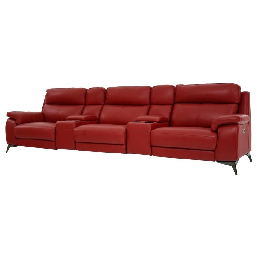 Barry Red Home Theater Leather Seating  alternate image, 2 of 11 images.