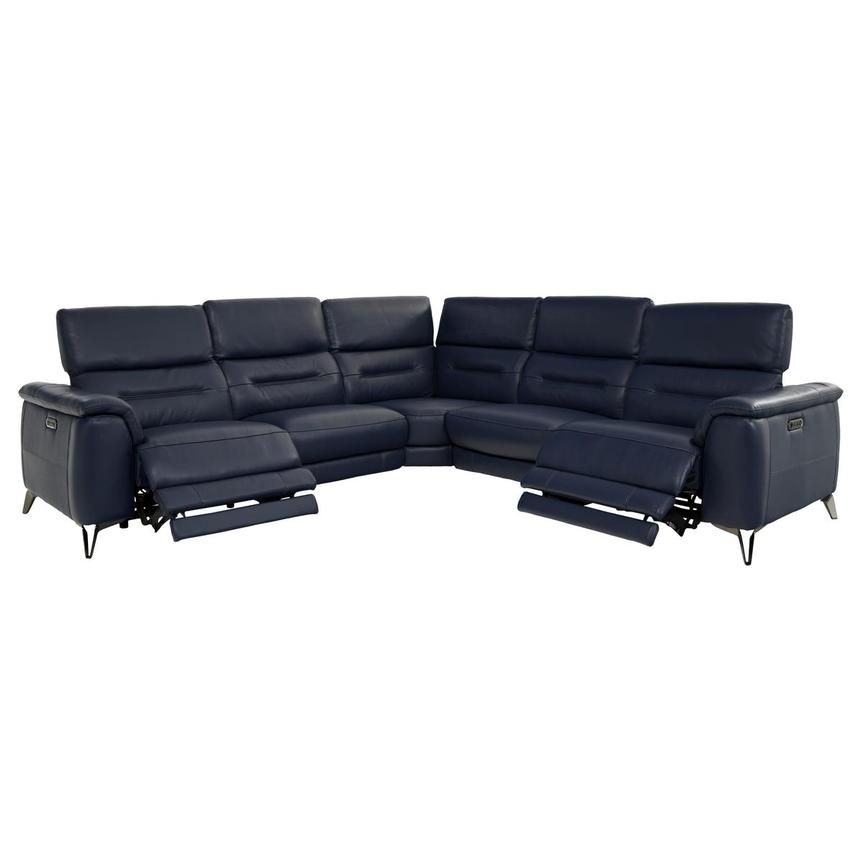 Anabel Blue Leather Power Reclining Sectional  alternate image, 2 of 8 images.