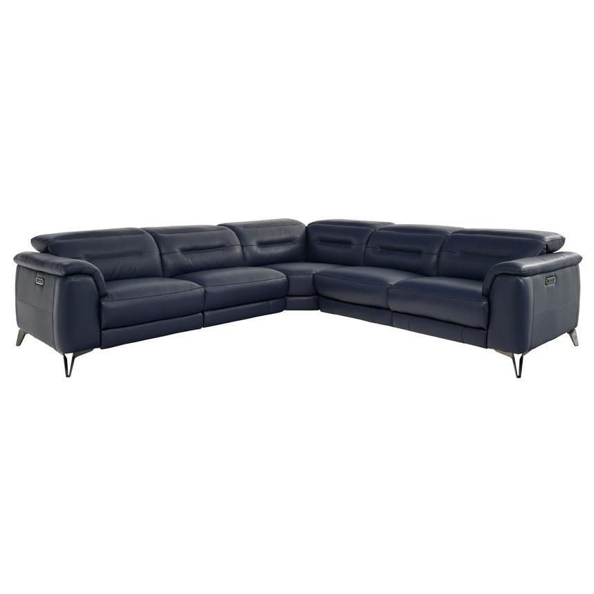 Anabel Blue Leather Power Reclining Sectional  main image, 1 of 9 images.