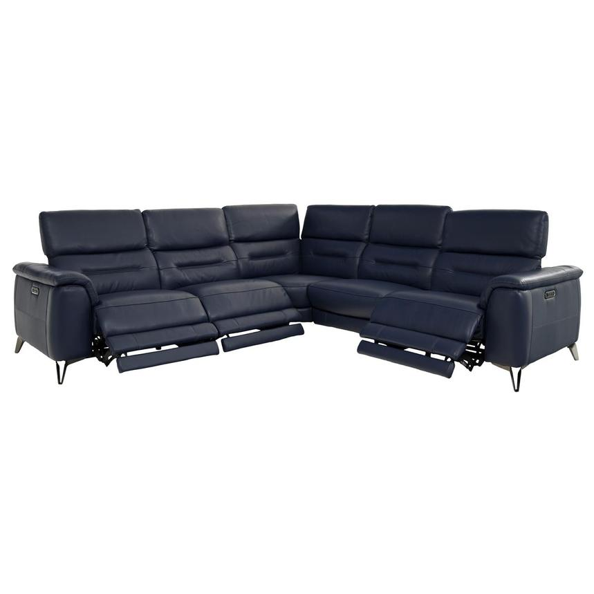 Anabel Blue Leather Power Reclining Sectional  alternate image, 2 of 7 images.