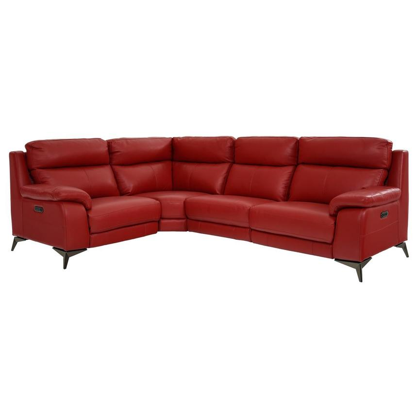 Barry Red Leather Power Reclining Sectional
