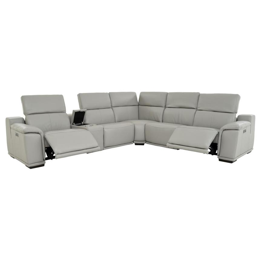 Davis 2.0 Light Gray Leather Power Reclining Sectional  alternate image, 2 of 11 images.