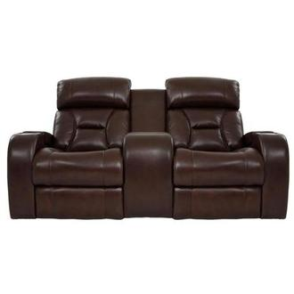Gio Brown Power Motion Leather Sofa w/Console