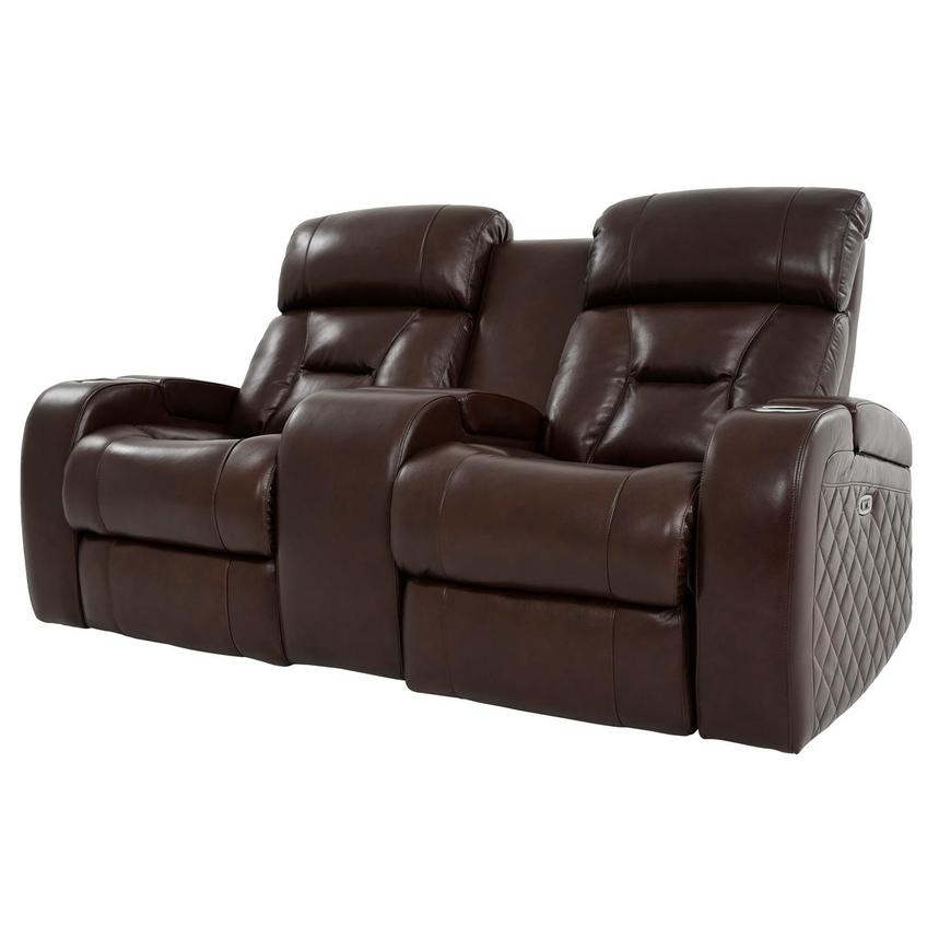 Gio Brown Leather Power Reclining Sofa w/Console  alternate image, 2 of 14 images.