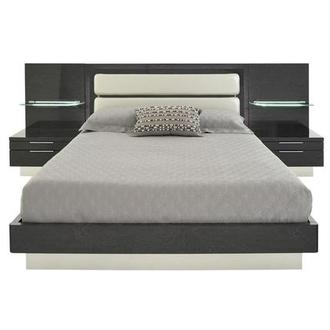 Ally Gray Queen Platform Bed w/Nightstands