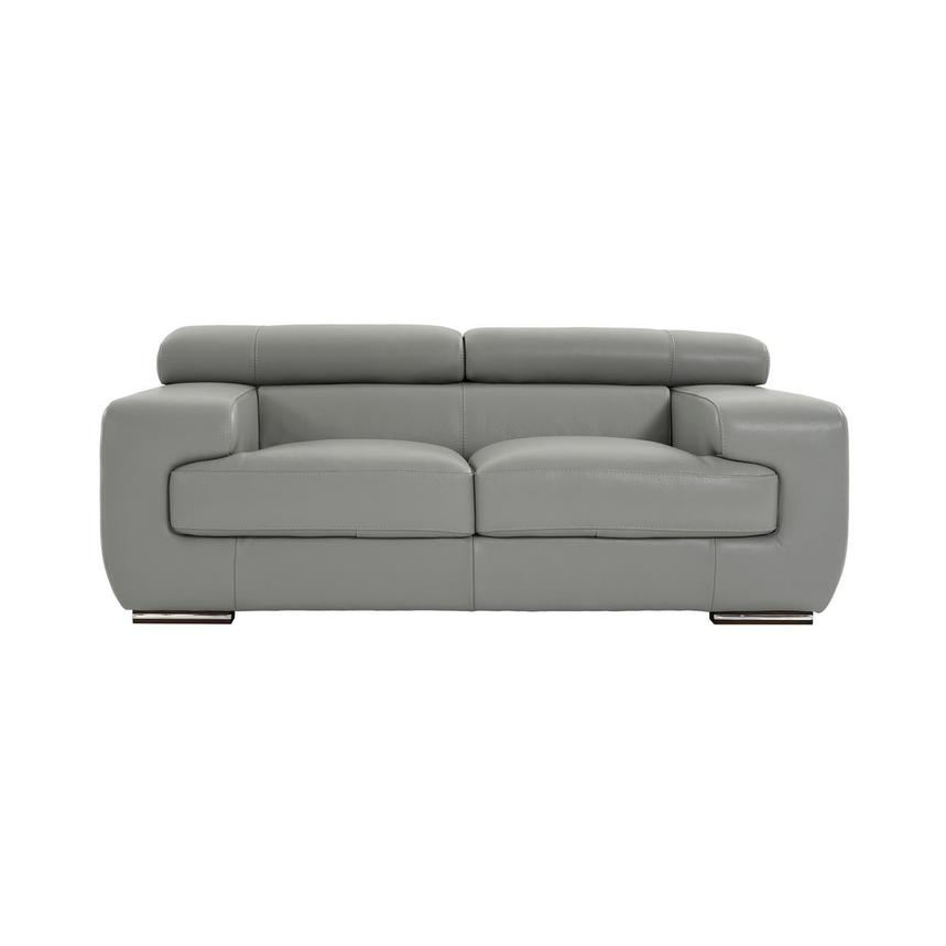 Terrific Grace Light Gray Leather Loveseat Gmtry Best Dining Table And Chair Ideas Images Gmtryco