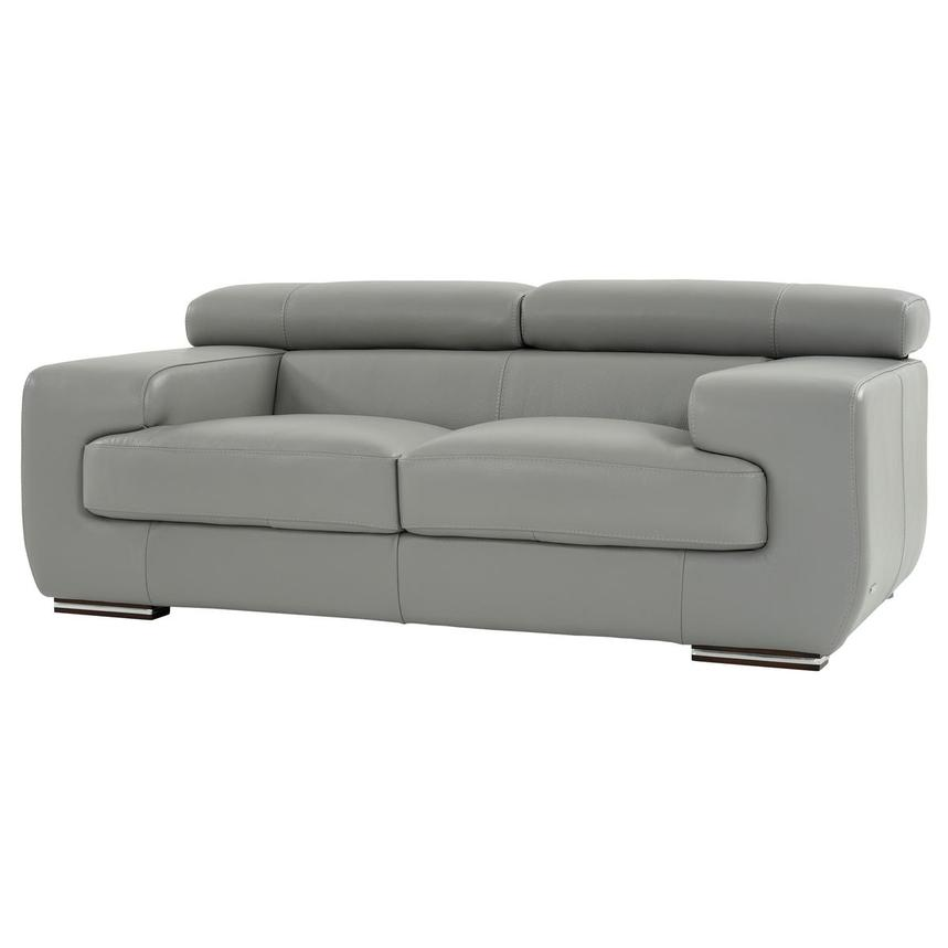 Grace Light Gray Leather Loveseat  alternate image, 2 of 9 images.