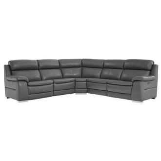 Matteo Gray Leather Power Reclining Sectional