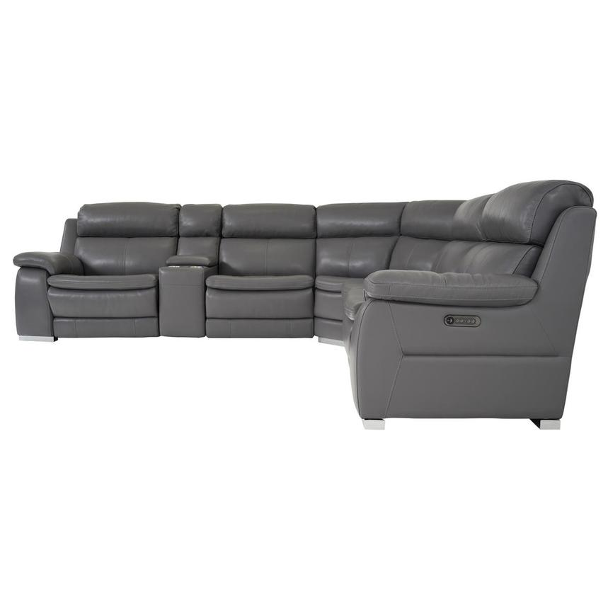 Matteo Gray Power Motion Leather Sofa w/Right & Left Recliners  alternate image, 3 of 11 images.
