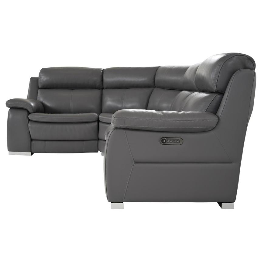 Matteo Gray Power Motion Leather Sofa w/Right & Left Recliners  alternate image, 3 of 10 images.