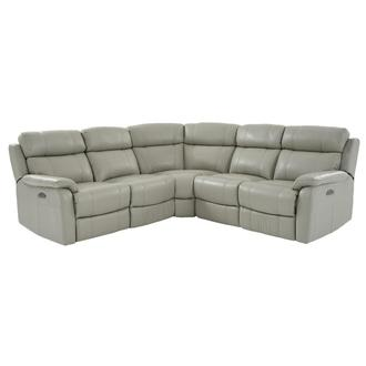 Ronald 2.0 Gray Power Motion Leather Sofa w/Right & Left Recliners