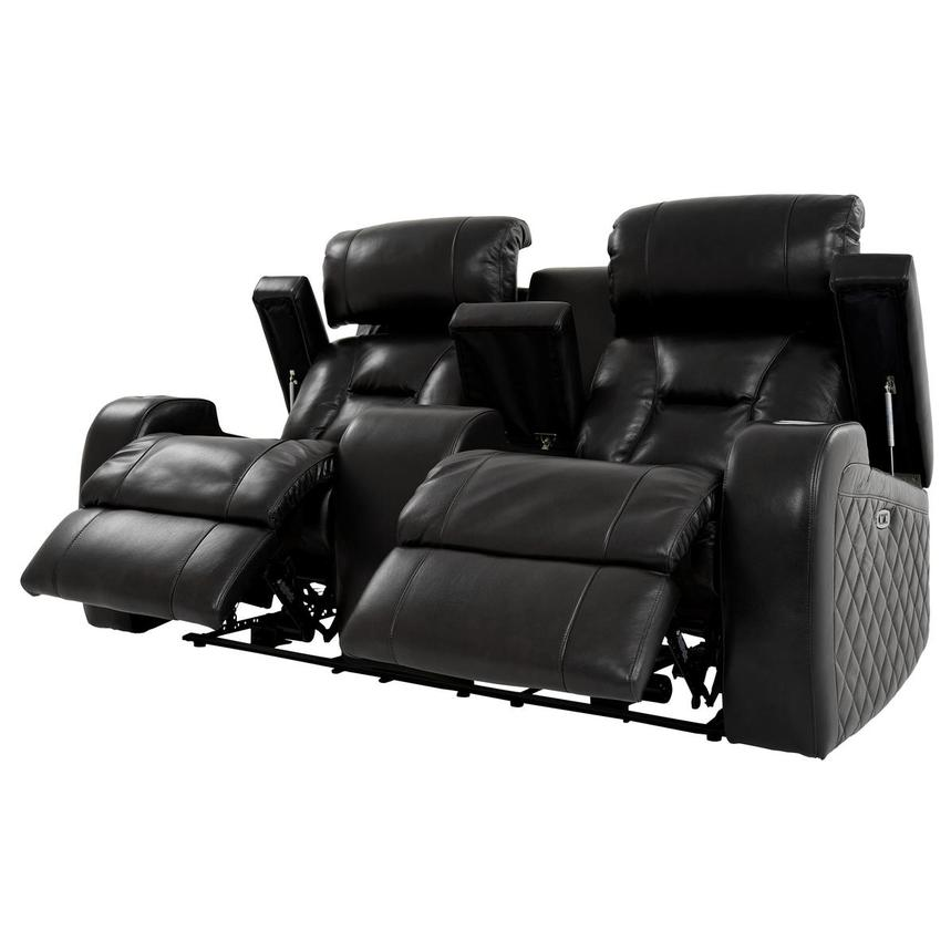 Gio Black Power Motion Leather Sofa w/Console  alternate image, 3 of 13 images.