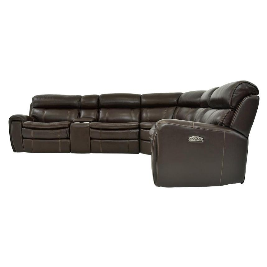 Napa Burgundy Leather Power Reclining Sectional  alternate image, 3 of 9 images.