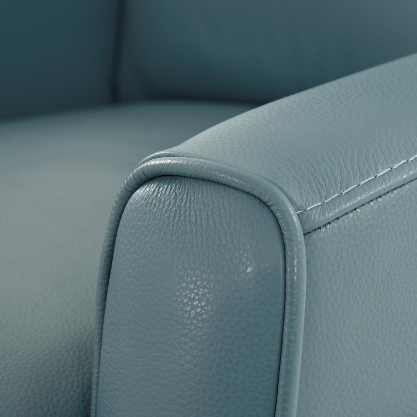 Lucca Blue Leather Power Recliner  alternate image, 8 of 9 images.