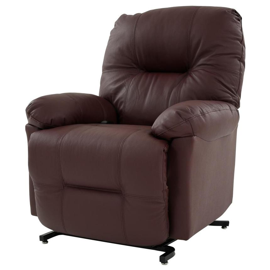 Wynette Burgundy Leather Power Lift Recliner  alternate image, 3 of 9 images.