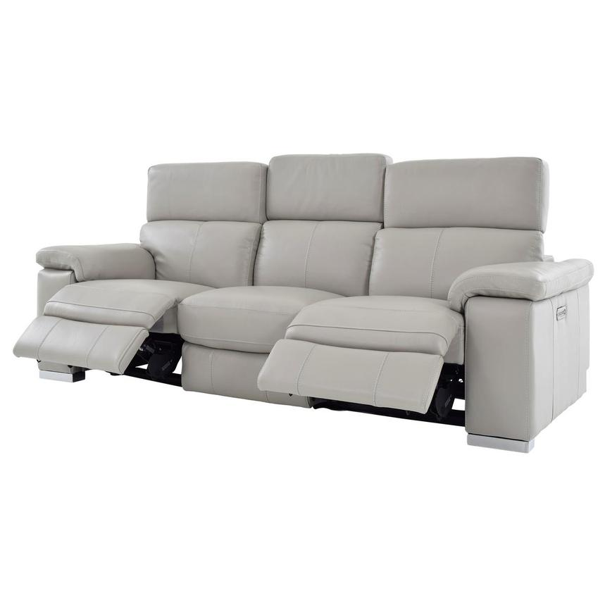 Charlie Light Gray Leather Power Reclining Sofa  alternate image, 3 of 11 images.