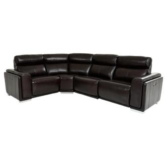 Barcelona Burgundy Power Motion Leather Sofa w/Right & Left Recliners
